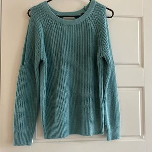 Poof!    blue cold shoulder sweater with open back